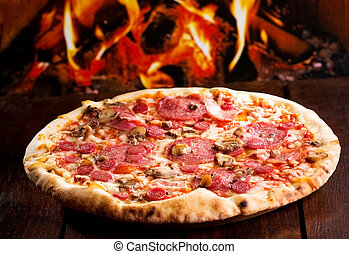 pizza with bacon and salami - pizza with bacon, salami and...