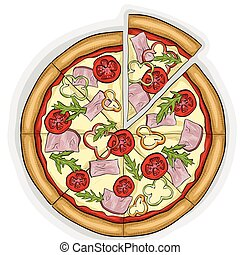 Pizza with bacon color picture sticker