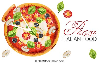 Pizza with basil leaves, tomatoes, tomato sauce, mozzarella, mushrooms and black olives