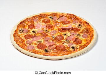 Pizza with Bavarian sausage, cervelat, carbonate, mozzarella cheese on white background