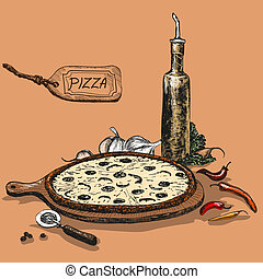Pizza with bottle of garlic oil
