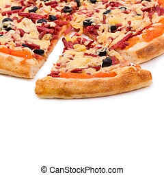 Pizza with cheese and ham isolated on white