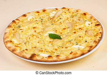 Pizza with cheese and pear