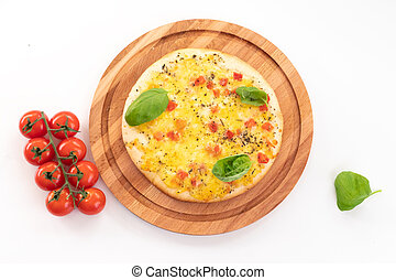 Pizza with cheese and tomatoes isolated on white background