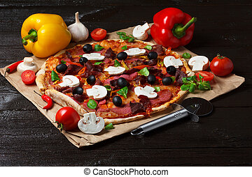 Pizza with different ingredients