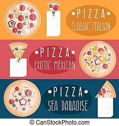 pizza with different tastes flat design horizontal banners
