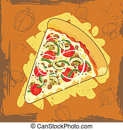 pizza with grunge background