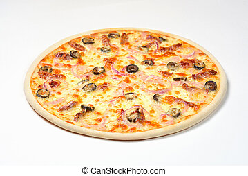Pizza with ham and Sun-dried tomatoes on a white background