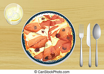 Pizza with ham