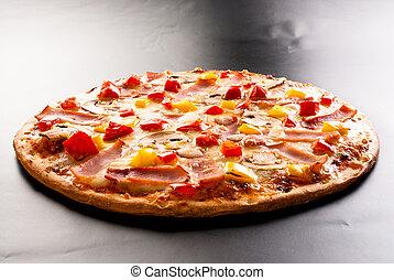 Pizza with ham