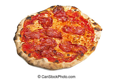 Pizza with hot salami on a white background