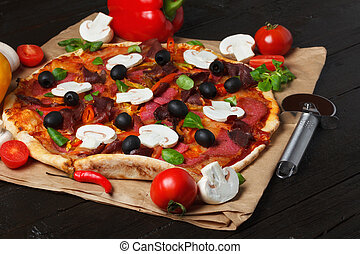 Pizza with ingredients