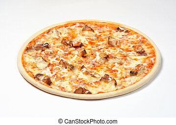 Pizza with kebab and mushrooms on a white background