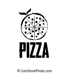 pizza with leaves vector design template