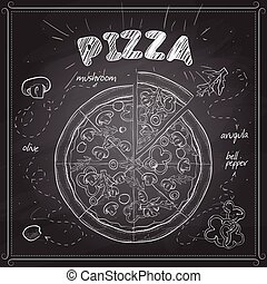 Pizza with mashrooms scetch on a black board