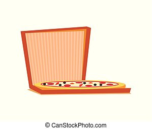Pizza with Meat, Cheese and Tomatoes in Box Vector