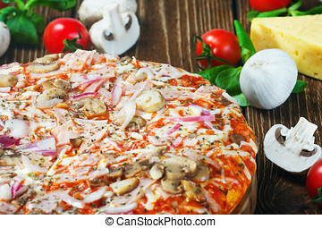 pizza with mushrooms and cheese and vegetables