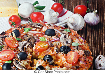 pizza with mushrooms and cheese