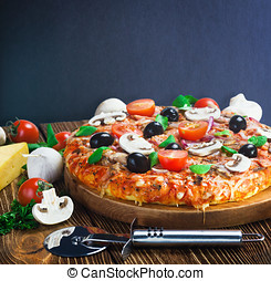 pizza with mushrooms and cheese served