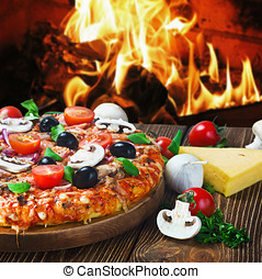 pizza with mushrooms and cheese served on wooden table