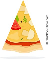 Pizza with mushrooms and cheese vector flat isolated