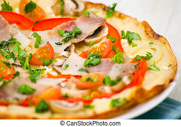 pizza with mushrooms, bacon