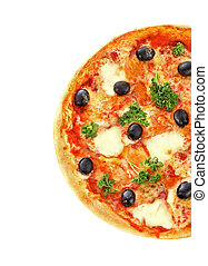 pizza with olives isolated