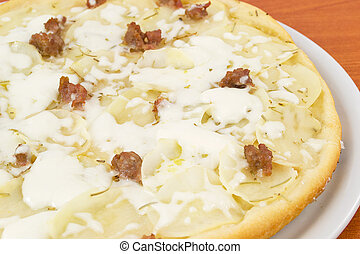 pizza with potatoes and sausage