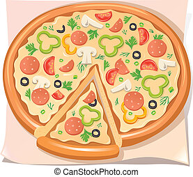 Pizza with salami, cheese and vegetables