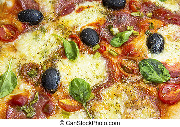 Pizza with salami, cheese, mozzarella, olives,tomatoes and spinach leaves , macro view