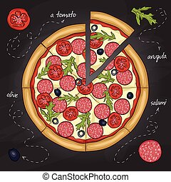 Pizza with salami color picture sticker