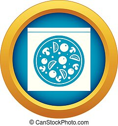 Pizza with salami, mushrooms, tomatoes icon blue vector isolated