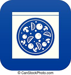Pizza with salami, mushrooms, tomatoes icon digital blue