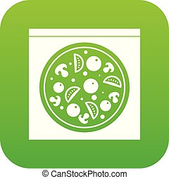Pizza with salami, mushrooms, tomatoes icon digital green