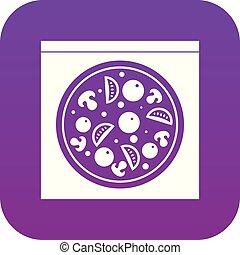 Pizza with salami, mushrooms, tomatoes icon digital purple