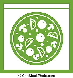 Pizza with salami, mushrooms, tomatoes icon green
