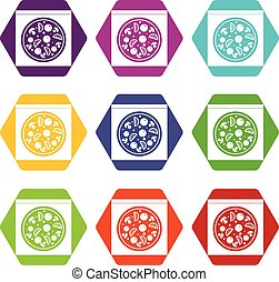 Pizza with salami, mushrooms, tomatoes icon set color hexahedron