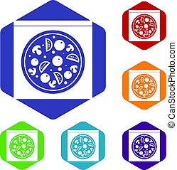 Pizza with salami, mushrooms, tomatoes icons set