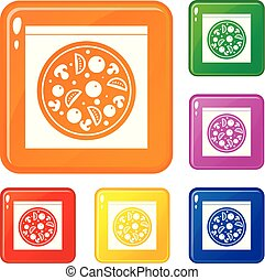 Pizza with salami, mushrooms, tomatoes icons set vector color