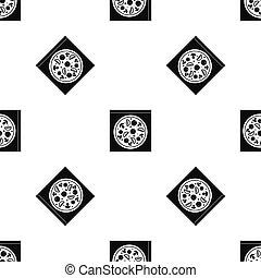 Pizza with salami, mushrooms, tomatoes pattern seamless black