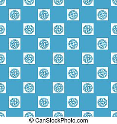 Pizza with salami, mushrooms, tomatoes pattern seamless blue