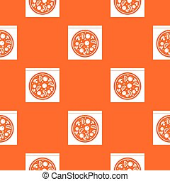 Pizza with salami, mushrooms, tomatoes pattern seamless