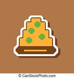 pizza with salami paper sticker on stylish background