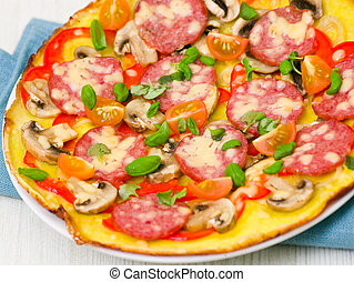 pizza with sausage, mushrooms