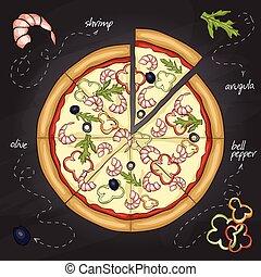 Pizza with shrimp color picture