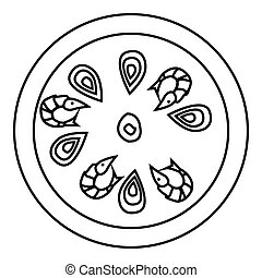 Pizza with shrimp icon, outline style