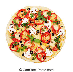 Pizza with shrimp, mushrooms, vegetables close-up isolated on white.