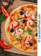 Pizza with shrimp, salmon and olive