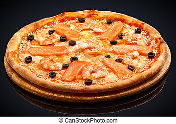 Pizza with shrimps and salmon