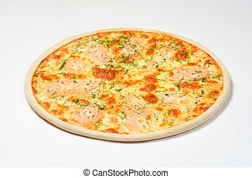 Pizza with smoked salmon, greens and mozzarella on a white background